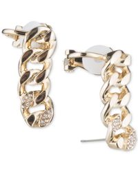 DKNY - Metallic Gold-tone Pavé Chain Ear Climbers - Lyst