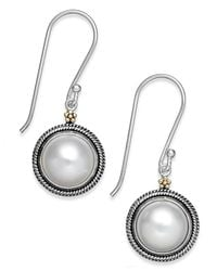 Macy's - Multicolor Cultured Freshwater Pearl Drop Earrings In 14k Gold And Sterling Silver (10mm) - Lyst