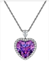 Arabella | Purple And Clear Swarovski Zirconia Heart Necklace In Sterling Silver | Lyst