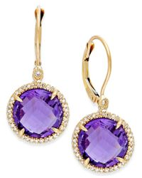 Macy's - Purple Amethyst (8-3/4 Ct. T.w.) And Diamond (1/5 Ct. T.w.) Drop Earrings In 14k Gold - Lyst