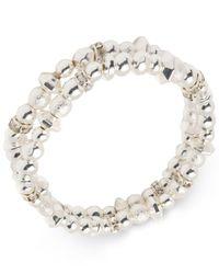 Nine West - Metallic Silver-tone 2-pc. Set Bead & Crystal Stretch Bracelets - Lyst