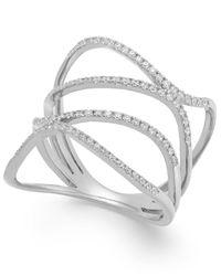 Macy's | Multicolor Diamond Wavy Ring In 14k White Gold (3/8 Ct. T.w.) | Lyst