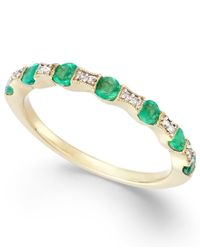 Macy's - Green Emerald (1/3 Ct. T.w.) And Diamond Accent Band In 14k Gold - Lyst