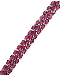 Macy's - Multicolor Ruby Three-row Bracelet In Sterling Silver (25 Ct. T.w.) - Lyst