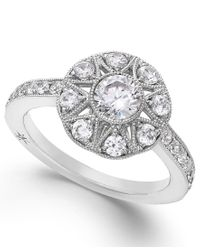 Marchesa - Antique Star By Certified Diamond Engagement Ring In 18k White Gold (1 Ct. T.w.) - Lyst