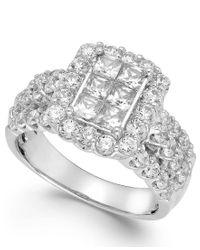 Macy's   Metallic Diamond Halo Engagement Ring In 14k White Gold (2 Ct. T.w.)   Lyst