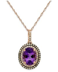 Macy's | Metallic Amethyst (2-1/4 Ct. T.w.) And Diamond (1/3 Ct. T.w.) Pendant Necklace In 14k Rose Gold | Lyst