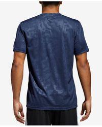 Adidas - Blue Essentials Camo-print Climalite® Training T-shirt for Men - Lyst