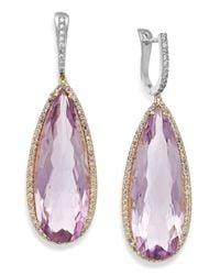 Macy's - Multicolor Amethyst (30 Ct. T.w.) And Diamond (3/4 Ct. T.w.) Earrings In 14k Gold - Lyst