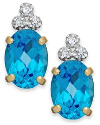 Macy's | Yellow Blue Topaz (2-1/5 Ct. T.w.) And Diamond Accent Stud Earrings In 10k Gold | Lyst