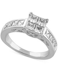 Macy's - Metallic Diamond Engagement Ring In 14k White Gold (2 Ct. T.w.) - Lyst