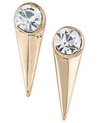 ABS By Allen Schwartz | Metallic Gold-tone Crystal Spike Drop Earrings | Lyst