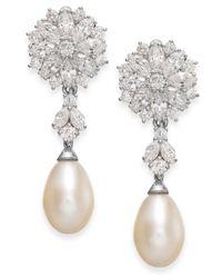 Arabella | Metallic Cultured Freshwater Pearl And Swarovski Zirconia Drop Earrings In Sterling Silver (8mm) | Lyst