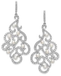 Arabella | Metallic Cultured Freshwater Pearl And Swarovski Zirconia Swirl Earrings In Sterling Silver (3mm) | Lyst