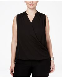 INC International Concepts | Black Plus Size Sleeveless Surplice Top | Lyst
