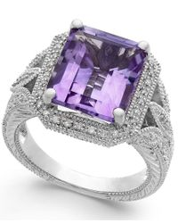 Macy's | Purple Pink Amethyst (4-1/10 Ct. T.w.) And Diamond (1/10 Ct. T.w.) Ring In Sterling Silver | Lyst