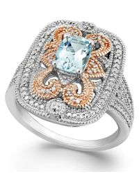 Macy's | Multicolor Aquamarine (5/8 Ct. T.w.) And Diamond (1/10 Ct. T.w.) Ring In Sterling Silver And 14k Rose Gold | Lyst