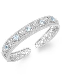 Macy's | Metallic Aquamarine (2 Ct. T.w.) And Diamond (1/10 Ct. T.w.) Bangle Bracelet In Sterling Silver | Lyst