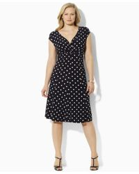 Lauren by Ralph Lauren - Black Plus Size Polka-dot Cap-sleeve Dress - Lyst