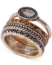 Lucky Brand | Metallic Two-tone Organic Stone Stack Ring | Lyst