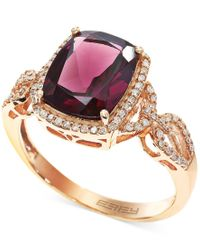 Effy Collection - Metallic Bordeaux By Effy Rhodolite Garnet (3-3/8 Ct. T.w.) And Diamond (1/4 Ct. T.w.) Ring In 14k Rose Gold - Lyst