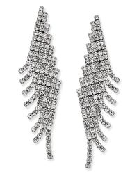 Charter Club | Metallic Silver-tone Angled Pavé Fringe Drop Earrings | Lyst