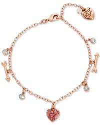 Betsey Johnson - Pink S Heart And Arrow Charm Anklet - Lyst