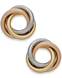 Macy's | Metallic Tri-tone Textured Love Knot Stud Earrings In 14k Gold | Lyst