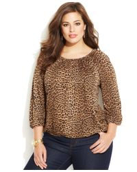 Michael Kors - Brown Michael Plus Size Blouson Top - Lyst