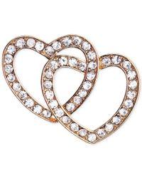 Jones New York | Metallic Gold-tone Crystal Double Heart Pin | Lyst