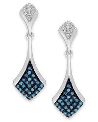 Macy's | Metallic 1blue And White Diamond Drop Earrings In Sterling Silver (1/5 Ct. T.w.) | Lyst