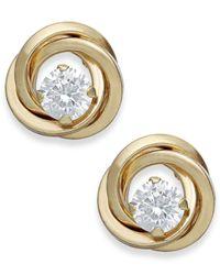 Macy's   Metallic Cubic Zirconia Love Knot Stud Earrings In 10k Gold   Lyst
