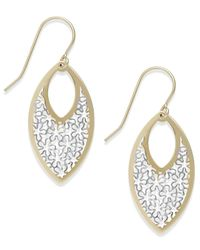 Macy's | Metallic Two-tone Fancy Teardrop Earrings In 10k Gold | Lyst