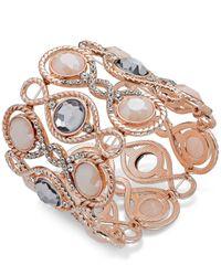 INC International Concepts - Pink Rose Gold-tone Large Stone Stretch Bracelet - Lyst