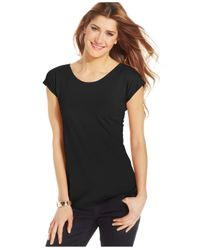Style & Co. | Black Scoop-neck T-shirt, Only At Macy's | Lyst