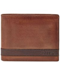 Fossil | Brown Quinn Bifold With Flip Id Leather Wallet for Men | Lyst