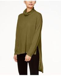 Eileen Fisher - Green Cowl-neck Wool Sweater - Lyst
