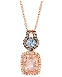 Le Vian | Blue Peach Morganite (1-1/2 Ct. T.w.) And Diamond (1/4 Ct. T.w.) Pendant Necklace In 14k Rose Gold | Lyst