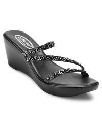 Callisto | Black Shana Embellished Thong Wedge Sandals | Lyst