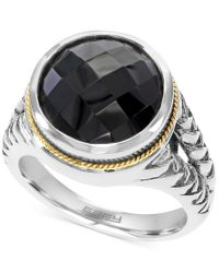 Effy Collection - Black Effy Onyx (5-7/8 Ct. T.w.) Braid Ring In Sterling Silver And 18k Gold - Lyst