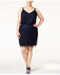 Adrianna Papell | Blue Plus Size Embellished A-line Cocktail Dress | Lyst