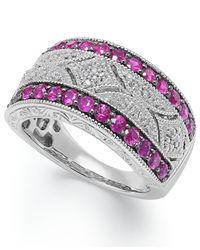 Macy's | Red Ruby (5/8 Ct. T.w.) And Diamond Accent Antique Band In Sterling Silver | Lyst