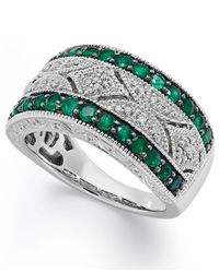 Macy's | Multicolor Emerald (1/2 Ct. T.w.) And Diamond (1/10 C.t. T.w.) Antique Band In Sterling Silver | Lyst
