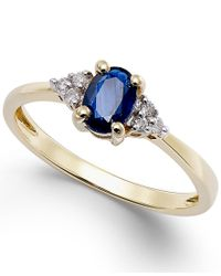 Macy's - Blue Sapphire (1/2 Ct. T.w.) And Diamond Accent Ring In 10k Gold - Lyst