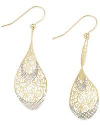 Macy's - Metallic Two-tone Openwork Teardrop Earrings In 14k Gold - Lyst