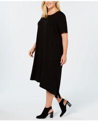 Eileen Fisher - Black Plus Size Stretch Jersey Asymmetrical Knit Dress - Lyst