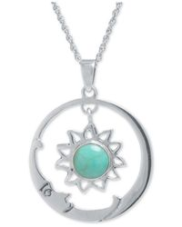 Macy's - Metallic Manufactured Turquoise (7-1/2mm) Sun And Moon Pendant Necklace In Sterling Silver - Lyst