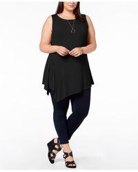 Joseph A - Black Plus Size Asymmetrical Sleeveless Top - Lyst