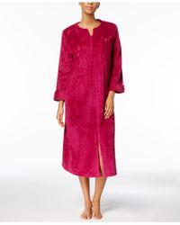 Miss Elaine - Multicolor Petite Fleece Embroidered Robe - Lyst