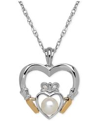 Macy's Metallic Cultured Freshwater Pearl (5mm) And Diamond Accent Heart Pendant Necklace In Sterling Silver And 14k Gold